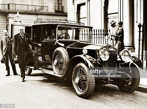 1928 The 1st Earl of Balfour pictured with his 80th birthday gift from both the House of Lords and House of Commons a gleaming Rolls Royce motor car...
