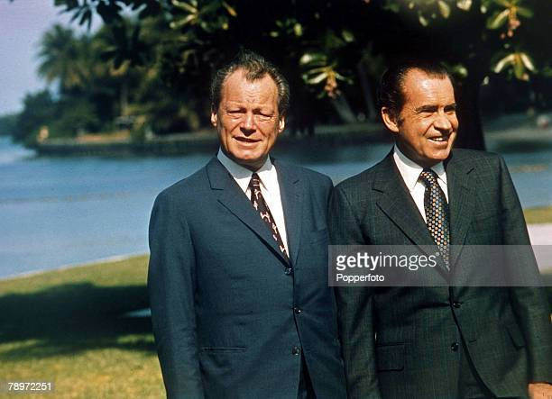 27th December 1971 West German Chancellor Willy Brandt left pictured at Key Biscayne Florida with the USPresident Richard Nixon