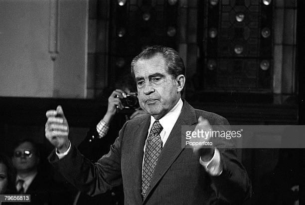 30th November 1978 Former US President Richard Nixon adresses the Oxford Union