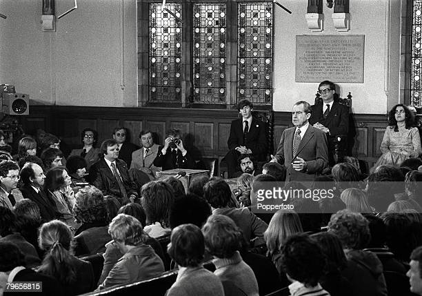 30th November 1978 Former US President Richard Nixon adresses the Oxford Union