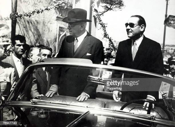 Political Personalities, Turkey, pic: September 1954, Istanbul, Turkey's President Celal Bayar, left with Turkey's Prime Minister Adnan Menderes, He...