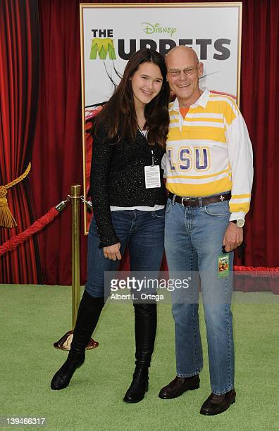 Political personality James Carville and daughter arrive for The Muppet Los Angeles Premiere held at the El Capitan Theatre on November 12 2011 in...