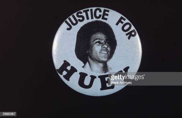 A political pinback button with a picture of black activist Huey Newton and reading 'Justice for Huey' circa 1967