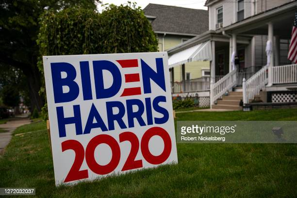 Political poster favoring U.S. Presidential candidate former Vice President Joe Biden and Senator Kamala Harris is placed on a front lawn September...
