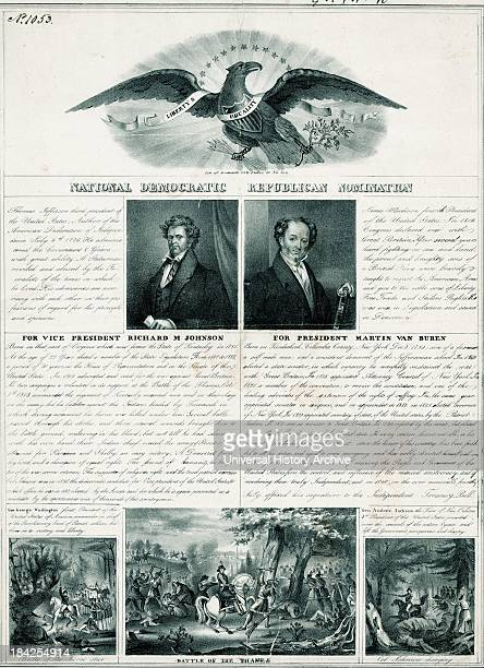 Political Poster from 1840 for the National Democrat Republican Convention Featuring mid length portraits of Martin Van Buren and Richard M Johnson...