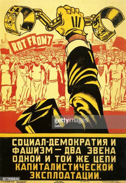 Political Poster USSR 1932 Social Democracy and fascism are two links of the same chain of capitalist exploitation