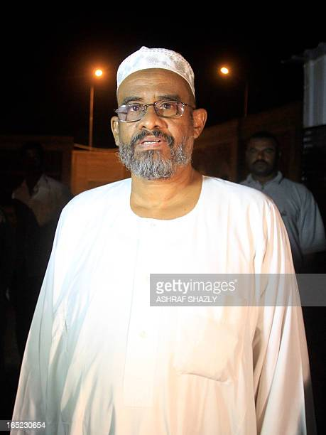 A political prisoner from Kober prison in the Sudanese capital Khartoum is seen following his release in the early hours of April 2 after Sudanese...