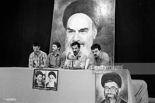 Political prisoners, who have recanted their views and now support the Islamic Republic, take part in a press conference at the high security Evin...
