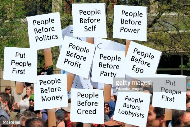 Political protest signs relating to personal and human rights.