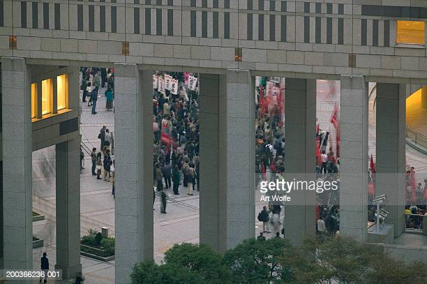 Political rally, Tokyo, Honshu, Japan, elevated view