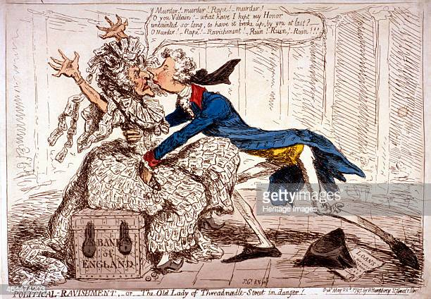 'Political ravishment or the Old Lady of ThreadneedleStreet in danger' 1797 showing a thin old woman dressed in onepound notes throwing up her arms...
