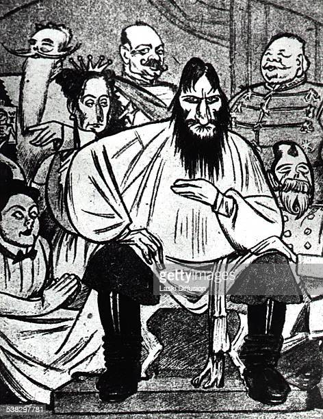Political satire a Russian satirical drawing of Grigori Rasputin and Tsar's family