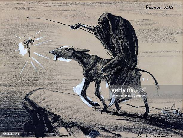 """Political satire cartoon depicting Death riding an emaciated donkey and leading it toward a precipice by dangling a carrot, """"victory,"""" from a stick...."""