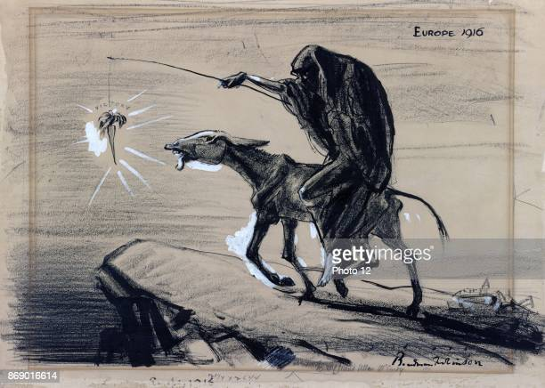 Political satire cartoon depicting Death riding an emaciated donkey and leading it toward a precipice by dangling a carrot, 'victory,' from a stick....
