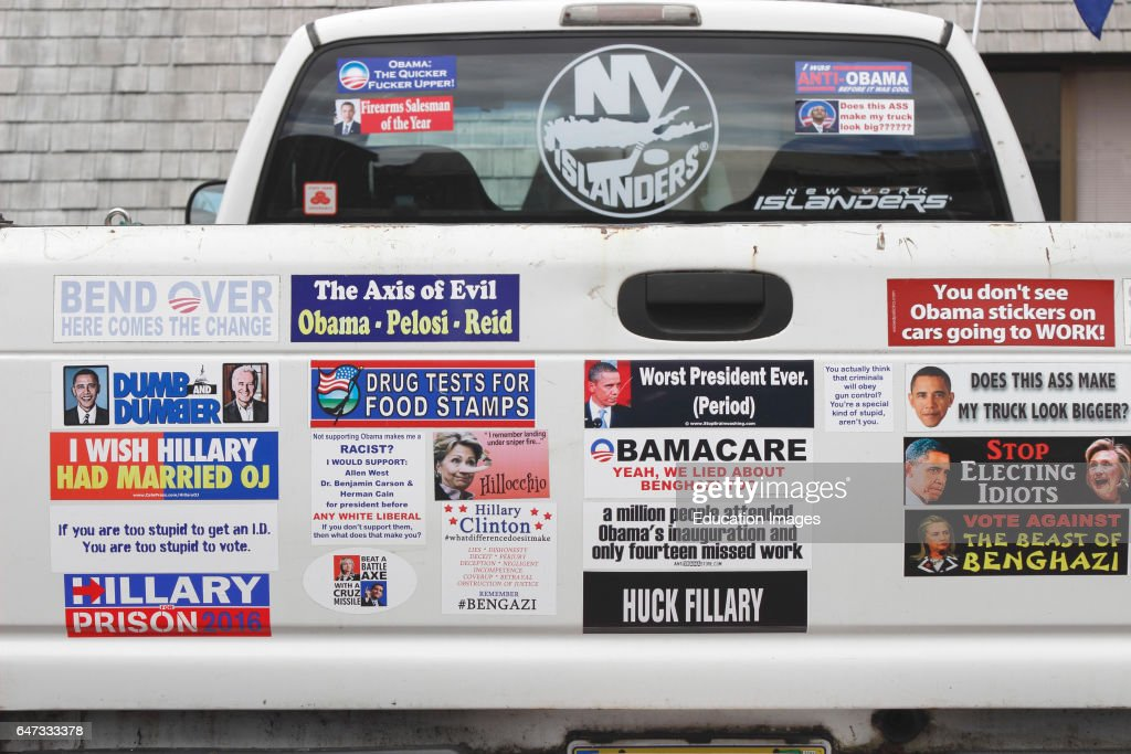Political signs on pickup truck anti obama hillary clinton ketchikan tongass narrows inside passage southeast