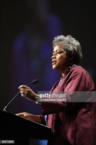 Political strategist Donna Brazile speaks at the Every Woman Counts campaign event at the Colorado Convention Center to encourage women to speak out...