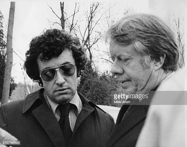 Political strategist Jerry Rafshoon directs Presidential Candidate Jimmy Carter on the North Bridge Concord Massachusetts 1976