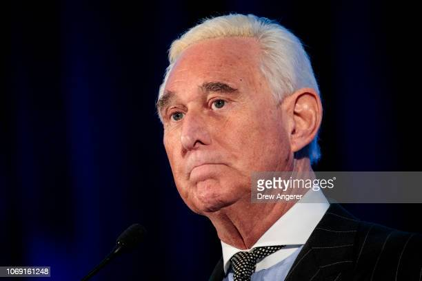 Political strategist Roger Stone pauses while speaking at the American Priority Conference December 6 2018 in Washington DC Stone recently told...