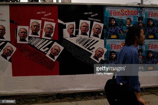 Political Street art is seen on the corner of 11th Avenue and 59th Street on September 9 2004 in New York City
