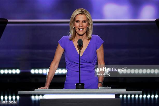 Political talk radio host Laura Ingraham delivers a speech on the third day of the Republican National Convention on July 20 2016 at the Quicken...
