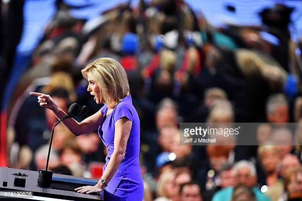 Political talk radio host Laura Ingraham gestures to the crowd as she delivers a speech on the third day of the Republican National Convention on...