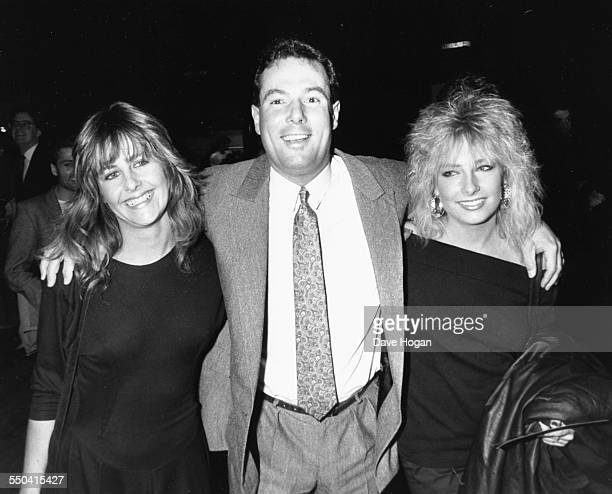 Politician and businessman Derek Hatton with friends Lisa and Marie attending the premiere of the movie 'Moonstruck' in London March 17th 1988