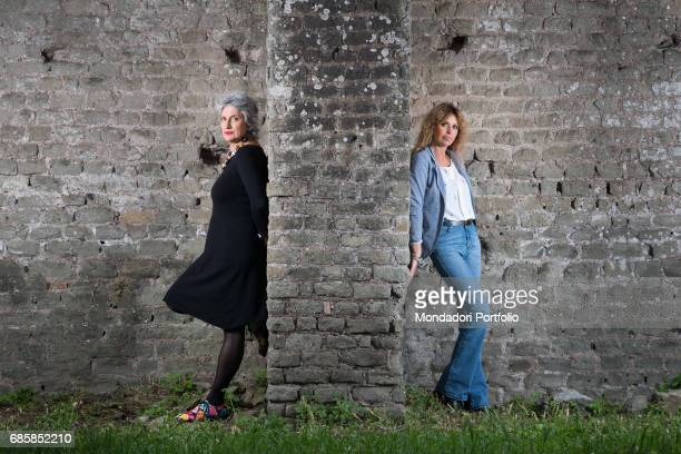 Politician and LGBT activist Paola Concia and member of EU Parliament Alessandra Mussolini divided by a wall Rome Italy 7th May 2016