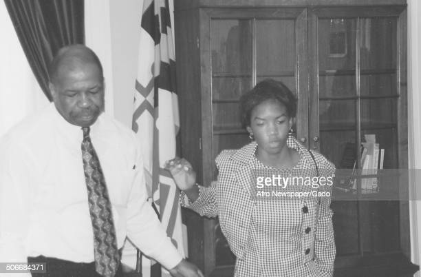 Politician and Maryland congressional representative Elijah Cummings and Jennifer Cummings 1994
