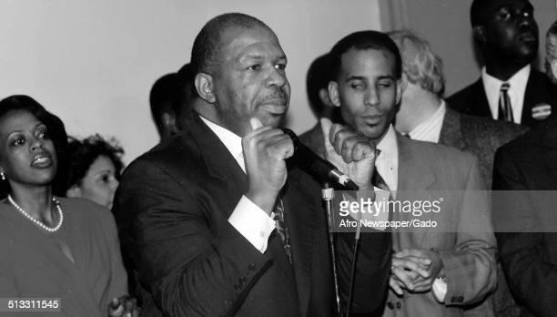 Politician and Maryland congressional representative Elijah Cummings standing 1988