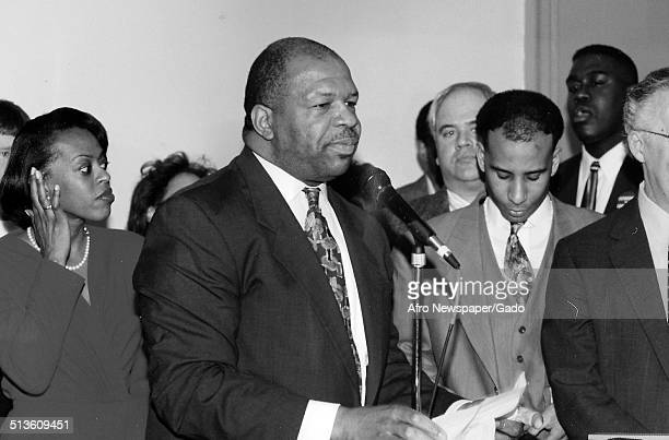 Politician and Maryland congressional representative Elijah Cummings during swearing in ceremony, 1985.