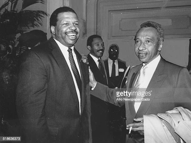 Politician and Maryland congressional representative Elijah Cummings and former Maryland Democratic Congressman Parren Mitchell 1993