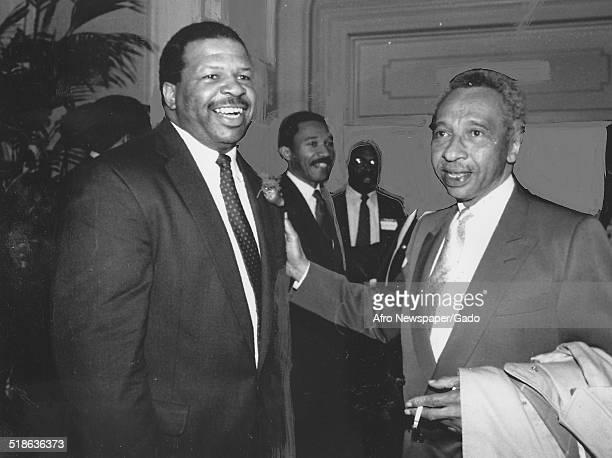 Politician and Maryland congressional representative Elijah Cummings and former Maryland Democratic Congressman Parren Mitchell, 1993.