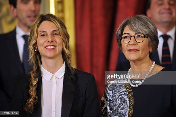 Politician and member of the Italian Chamber of Deputies Marianna Madia and Democratic party Senate Leader Anna Finocchiaro attend a swearing in...