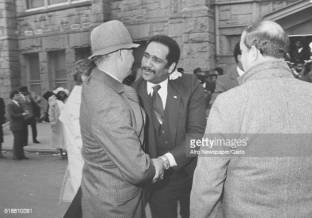 Politician and sociologist Daniel Patrick Moynihan during the funeral of Juanita Jackson Mitchell Baltimore Maryland 1992