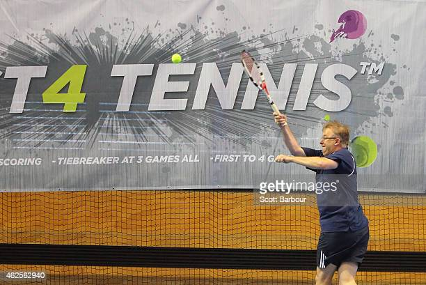Politician Anthony Albanese plays Fast 4 Tennis during the 2015 Australian Open at Melbourne Park on January 31 2015 in Melbourne Australia