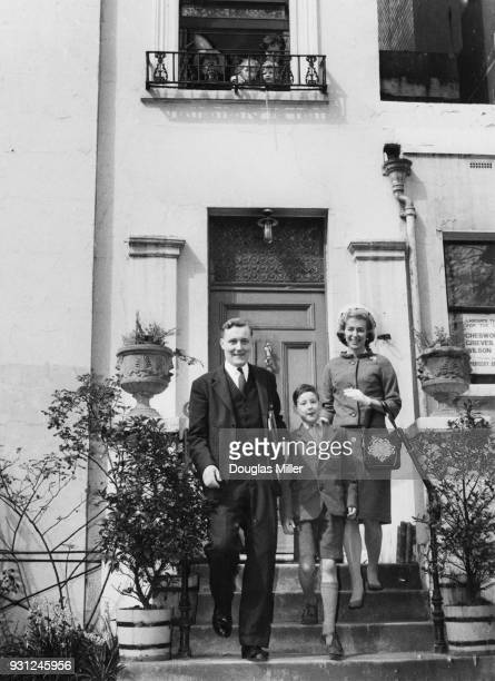 Politician Anthony Wedgwood Benn leaves his home in Holland Park London for the House of Commons accompanied by his wife Caroline and eldest son...