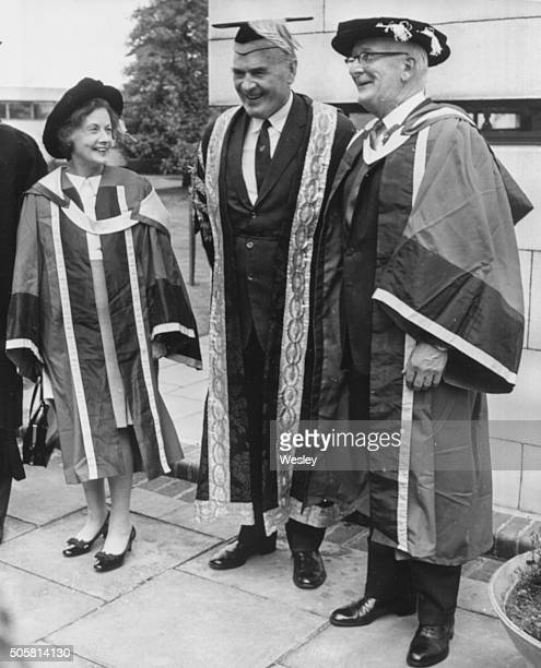 Politician Barbara Castle Secretary of State for Employment and Productivity wearing cap and gown as she prepares to receive an honorary degree with...