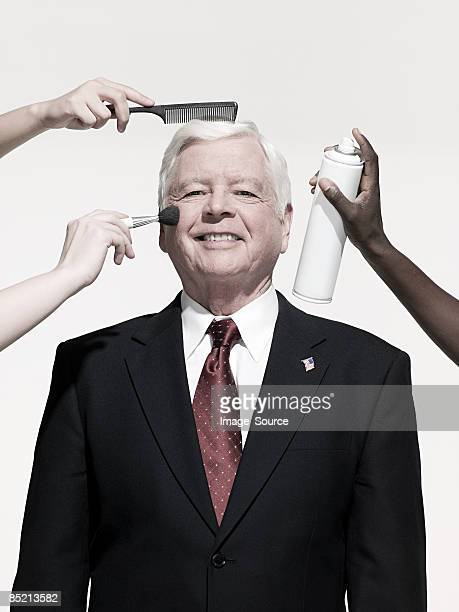 politician being prepared - president stockfoto's en -beelden