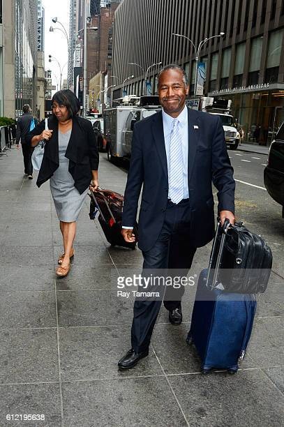 Politician Ben Carson and Candy Carson enter the FOX Friends taping at the FOX Studios on October 03 2016 in New York City