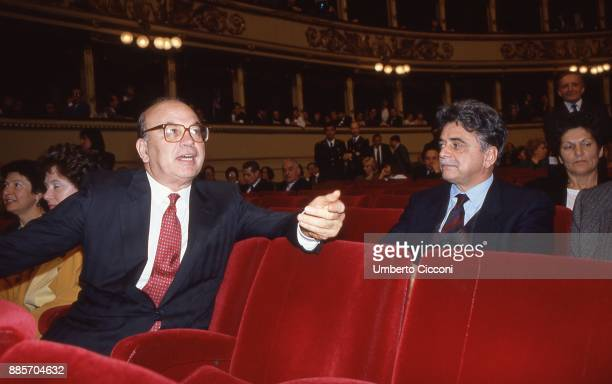 Politician Bettino Craxi is at the Opera House with the secretary-general of the Italian Communist Party Achille Occhetto, Rome 1988.