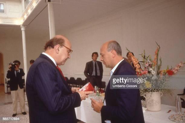 Politician Bettino Craxi is with Italian journalist Paolo Mieli Rome 1989