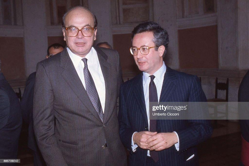 Politician Bettino Craxi is with Italian Politician Giulio Tremonti at the Excelsior Hotel, Milan 1989.