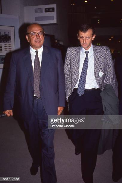 Politician Bettino Craxi is with Piero Fassino at the Socialist International conference Berlin 1990