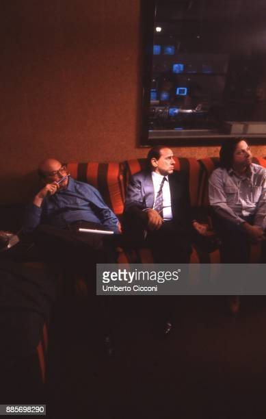 Politician Bettino Craxi is with Silvio Berlusconi and artist Filippo Panseca at the Fininvest headquarters Milan 1987