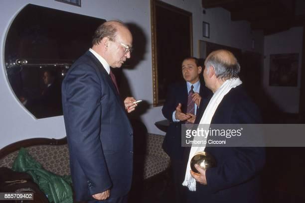 Politician Bettino Craxi is with Silvio Berlusconi and Italian entrepreneur Salvatore Ligresti Milan 1990