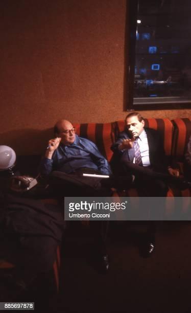 Politician Bettino Craxi is with Silvio Berlusconi at the Fininvest headquarters Milan 1987
