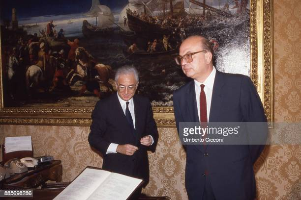 Politician Bettino Craxi is with the head of state Francesco Cossiga at the Quirinal Palace, Rome 1988.