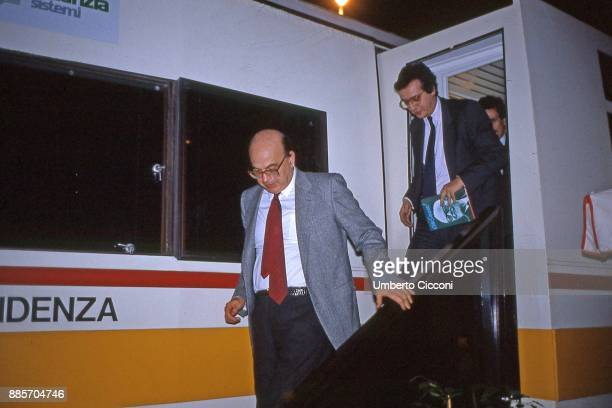 Politician Bettino Craxi meets Walter Veltroni on a camper while they are at the Italian socialist party congress Rimini 1987