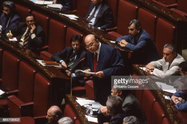Politician Bettino Craxi speaks for the last time at the Italian Parliament Rome 1993