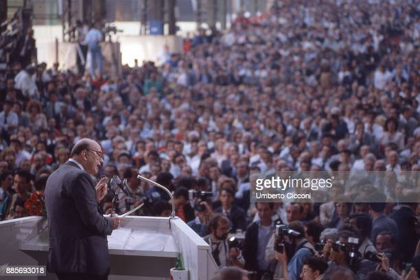 Politician Bettino Craxi talking at the socialist party conference, Italy 1989.